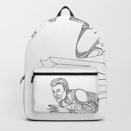 Track and Field Athlete Running Doodle Art Backpack