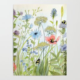 Floral Watercolor Botanical Cottage Garden Flowers Bees Nature Art Poster