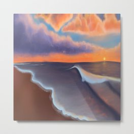 Lavender Beach Sunset Metal Print