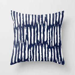 Vertical Dash White on Navy Blue Paint Stripes Throw Pillow