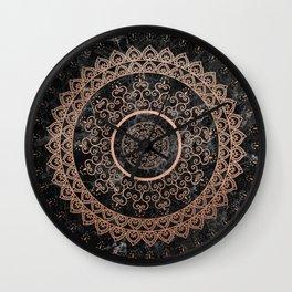 Mandala - rose gold and black marble Wall Clock