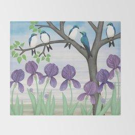 tree swallows & irises Throw Blanket