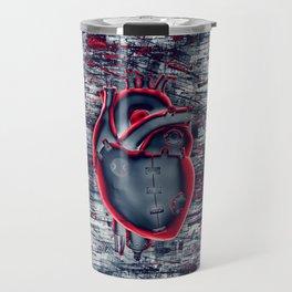 Gamer Heart BLUE CRIMSON / 3D render of mechanical heart Travel Mug