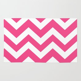 French rose - pink color - Zigzag Chevron Pattern Rug