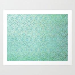 Green Watercolor Tile Art Print