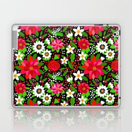 Christmas Flowers and Holly, Poinsettia, Roses and Lilies, holidays, girls floral gift, gift for mom Laptop & iPad Skin