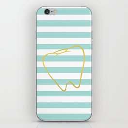 Aqua Stripes with Gold Tooth iPhone Skin