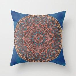 Wooden-Style Mandala Throw Pillow