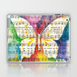 O Happy Day  Butterfly Watercolor on Sheet Music Laptop & iPad Skin