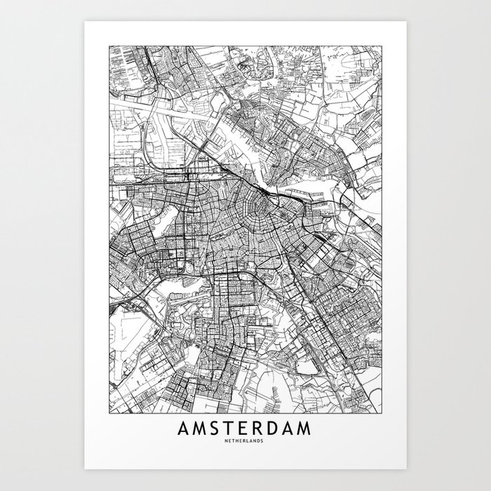 picture regarding Printable Map of Amsterdam referred to as Amsterdam White Map Artwork Print via multiplicity