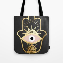 gold foil hamsa hand with blush pink Tote Bag