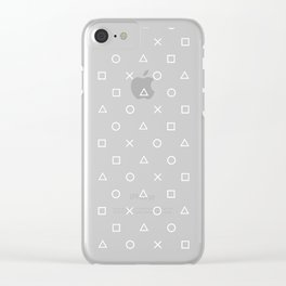 Gamer Pattern (White on Black) Clear iPhone Case