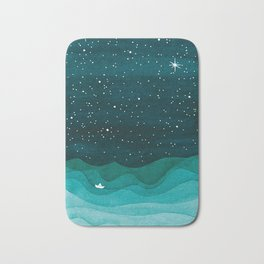 Starry Ocean, teal sailboat watercolor sea waves night Bath Mat