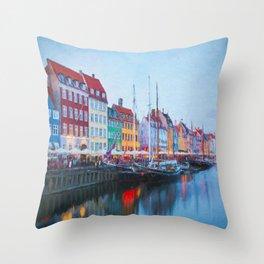 The Quay at Nyhavn, Copenhagen, Denmark Throw Pillow