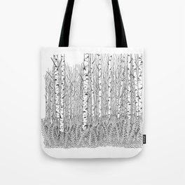 Birch Trees Black and White Illustration Tote Bag