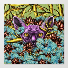 The Sphynx and the Flowers Canvas Print