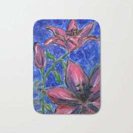 Pink Lilies Charcoal Acrylic Painting Bath Mat
