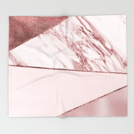 Spliced mixed pinks rose gold marble Throw Blanket