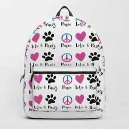 Peace Love & Paws Illustration Backpack