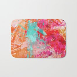 Paint Splatter Turquoise Orange And Pink Bath Mat