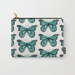 Turquoise Butterfly Carry-All Pouch