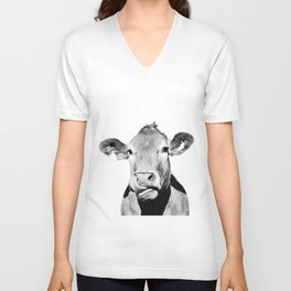 Cow photo - black and white Unisex V-Neck
