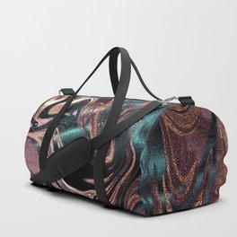 Metallic Rose Gold Marble Swirl Duffle Bag