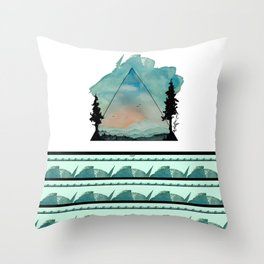 Watercolor Mountains Throw Pillow