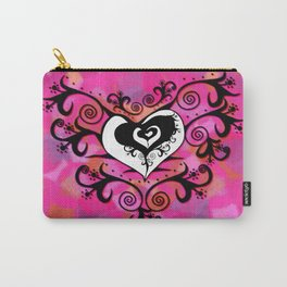 Tribal Heart - White Black & Pink Carry-All Pouch