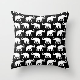 Elephants on Parade Black Throw Pillow
