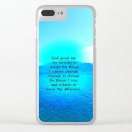 Serenity Prayer With Blue Ocean and Amazing Sky Clear iPhone Case