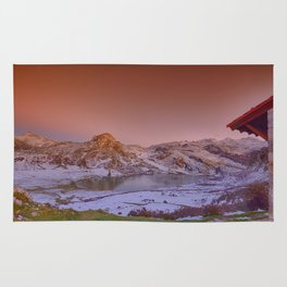 Panoramic view of Lake Ercina with snow in Asturias, Spain. Rug