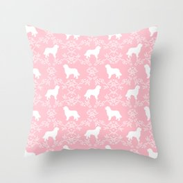 Bernese Mountain Dog florals dog pattern minimal cute gifts for dog lover silhouette pink and white Throw Pillow