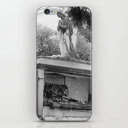 Old broken grave with angel iPhone Skin