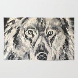 Crazy Eyed Wolf Rug