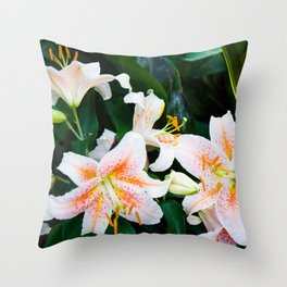 lilies and leaves Throw Pillow