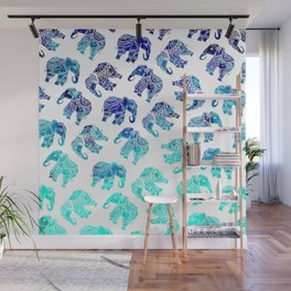 Boho turquoise blue ombre watercolor hand drawn mandala elephants pattern Wall Mural