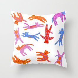 Cartwheel kitties Throw Pillow