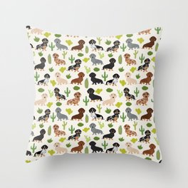 Dachshund cactus southwest dog breed gifts must have doxie dachsies Throw Pillow