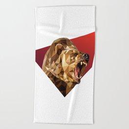 Low Poly Bear Beach Towel
