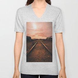 Train Tracks in the Desert Unisex V-Neck