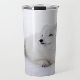 White snow arctic fox Travel Mug