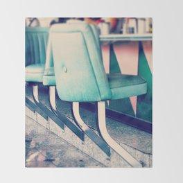 Retro Diner Photograph, kitchen art, restaurant decor, shabby chic, vintage, pastels, mint and pink Throw Blanket