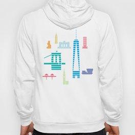 New York Skyline One WTC Poster Pastel Hoody