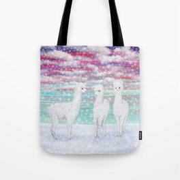 alpacas in the snow Tote Bag