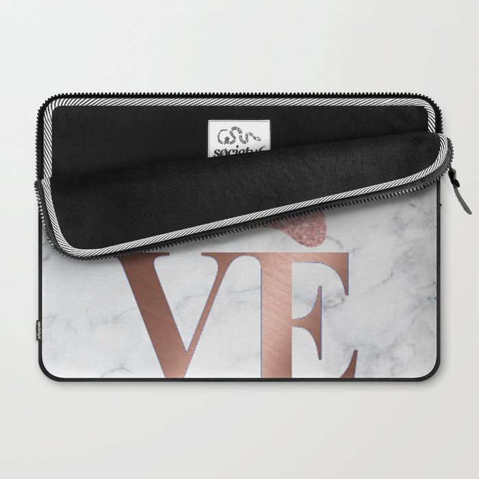 Love is a Four Letter Word - Rose Gold and Marble Laptop Sleeve