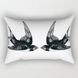 Double Swallow Illustration Rectangular Pillow