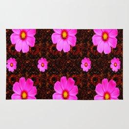 FUCHSIA PINK FLOWERS &  DARK ART Rug