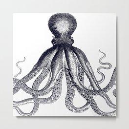 Octopus | Black and White Metal Print