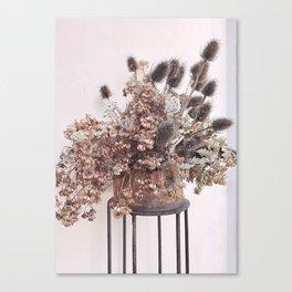 blush pink dried  bouquet Canvas Print